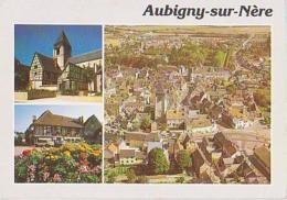 Cher        H87        Aubigny Sur Nere ( 3 Vues ) L'église.Vieilles Maisons Et Vue Aérienne - Aubigny Sur Nere