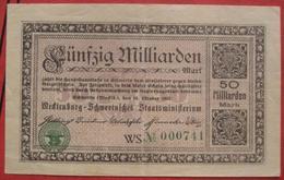 Mecklenburg-Schwerin 50000000000 Mark 23.10.1923 / Mecklenburg-Schwerinsches Staatsministerium 50 Milliarden - [ 3] 1918-1933: Weimarrepubliek