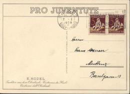 CP E Hodel Pro Juventute Costumes Du Hasli YT 226 Orphelin X2 CAD Basel 2 Briefversand 2 1 1928 + Flamme - Pro Juventute