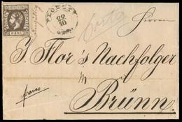 ROMANIA. 1872 (22 Oct). Ploeck - Brünn / Austria. EL Fkd 25b Brown, Pref, Unacceted / Invalid + Mns Ungultig + Cds Along - Portugal
