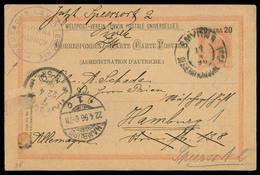 AUSTRIAN Levant. 1896 (17 April). Smyrna - Germany. 20p Stat Card + Special Violet Cachet Deusche Levante Linie / Smyrna - Austria