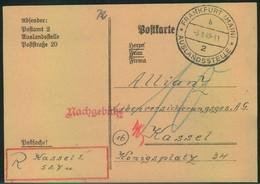 """1949, Postsache """"FRANKFURT(MAIN) AUSLANDSSTELLE Wegen Fehlendem Porto Nach Kassel. Dort Handschriftlicher R-Vermerk. RR! - Zone Anglo-Américaine"""