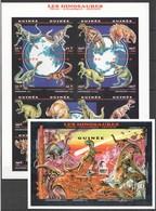 M588 !!! IMPERFORATE DE GUINEE PREHISTORIC ANIMALS DINOSAURS 1BL+1SH MNH - Preistorici