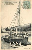 Port En Bessin - 1906 - Travaux De Calfatage Sur Un Bateau Voilier - Barque En Radoub - Belle Animation - Port-en-Bessin-Huppain