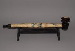 Pipe Chinoise En Os Et Bois - Chine Fin XXème Siècle - Art Asiatique