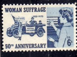 USA STATI UNITI 1970 WOMAN SUFFRAGE IL VOTO ALLE DONNE CENT. 6c MNH - Stati Uniti