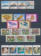 4 Motiv-Ausgaben (Vögel, Flugzeuge, Fussball, Schiffe) - Briefmarken