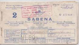 Sabena Billet De Passage 1950 Voir Les Scans. - Billets D'embarquement D'avion