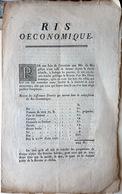 GASTRONOMIE RECETTE POPULAIRE POUR LES PAUVRES  LE RIS OECONOMIQUE 18° SIECLE PHYSIOCRATIE DOCUMENT ORIGINAL - Historical Documents