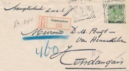Nederlands Indië - 1905 - 20 Cent Bontkraag, Envelop G17 Als R-cover Van Prioktjahoe Via VK Bandjermasin Naar Kendangan - Niederländisch-Indien