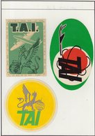 ETIQUETTES A BAGAGES : FRANCE . TAI .( CREE LE 1ER JUIN 1946 , MAINTENANT UTA ) - Baggage Labels & Tags