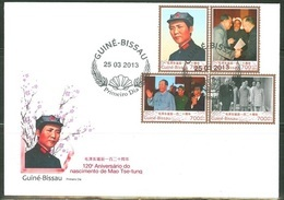 Guinea Bissau 2013, Mao Tse-tung's Important Moment In History, 4val  In FDC - Mao Tse-Tung