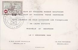 Belgique Carte Fiançailles 1966 - Noces