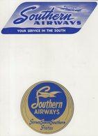 ETIQUETTES A BAGAGES : ETATS - UNIS . SOUTHERN AIRWAYS . - Étiquettes à Bagages