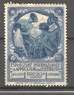 BRESCIA 1909 ESPOSIZIONE INTERNAZIONALE DELLE APPLICAZIONI  ELETTRICHE  ETICHETTA PUBBLICITARIA - Erinnofilia
