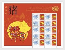 VN / UN - Postfris/MNH - Sheet Jaar Van Het Varken 2019 - Gezamelijke Uitgaven New York/Genève/Wenen