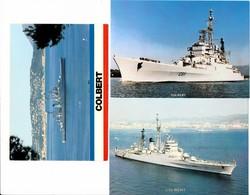 Lot De 3 Cartes ( Format 15 X 10,5 Cm ) Marine Nationale Croiseur Lance Missiles Le COLBERT Bateau De Guerre Recto Verso - Warships