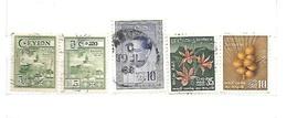 CEYLON 5 Francobolli Usati 1950 - 1962 - Altri - Asia
