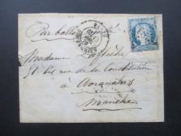 Paris 1870 Par Ballon Monte Streifband / Ballonpost Dezember 1870 / 6. Dec ?! - 1870 Siege Of Paris