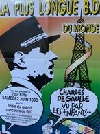 Affiche / De Gaulle / Tour Eiffel / Bande Dessinée / Mairie Paris 1990 / Illlustrateur G.Lussault - Posters