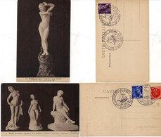 PARIS - 2 CPA -Musée Gallièra - Sculpture Femmes Nues - Cachets De L' Expo Philatelique (L'Art Dans Le Timbre)  (112188) - France