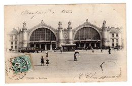 CPA Tours 37 Indre Et Loire La Gare Tramway Kiosque Pub Crémieux Tailleur éditeur ND  N°51 - Tours