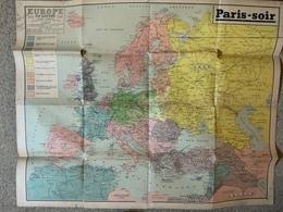 Affiche / Carte De L'europe En Guerre  1939/40 Avec Les Nouvelles Limites Des états / édition Journal Paris-soir - Afiches