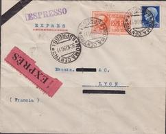 Italia 241 – Lettera Espresso Da Roma Del 30.10.36 Per Lione ( Francia ) Affrancata Con Imperiale L. 1,25 + Espresso L. - 1900-44 Vittorio Emanuele III