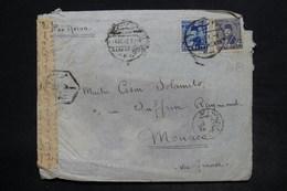 EGYPTE - Affranchissement Plaisant De Alexandrie Sur Enveloppe Pour Monaco En 1949 Avec Contrôle Postal - L 26206 - Covers & Documents