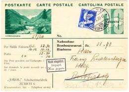 1932 Reklamenganzsache Mit Zusatzfrankatur Zürich Wipkingen Nicht Eingelöst In Buttisholz; Rückseitig Schuhcreme Reklame - Entiers Postaux