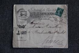 Timbre Sur Lettre Publicitaire - GENEVE : A.LAPLACE, Fabrique De Cravates. - Schweiz