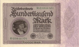 Germany P83, 100,000 Mark, Portrait Of Merchant Georg Gisze By Holbein XL $20CV - [ 3] 1918-1933: Weimarrepubliek
