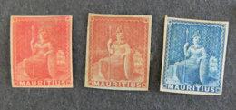 ILE MAURICE - MAURITIUS - 1862 - YT 13 / 15 / 16 - FIGURE ALLEGPRIQUE DE LA GRANDE BRETAGNE - Mauritius (1968-...)