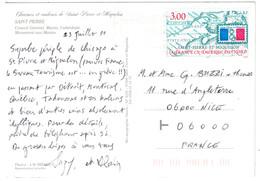 TIMBRE N° 680 SEUL SUR CARTE POSTALE Pour NICE FRANCE OMEC SECAP De ST PIERRE ET TIMBRE MIQUELON CANADA - St.Pierre Et Miquelon