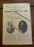 4 Bladzijden Prisonniers Politiques De La Guerre 1920  In Franse Taal - Documenten