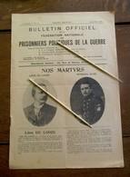 4 Bladzijden Prisonniers Politiques De La Guerre 1920  In Franse Taal - Documents