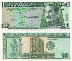 Guatemala P97a,1 Quetzal, Quetzal Bird, Gen Orellana / Bank Plate Of Leyden UNC - Guatemala