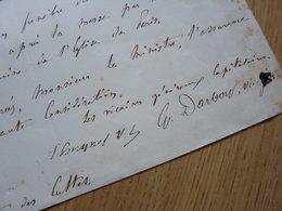 Mgr Georges DARBOY (1813 - Fusillé 1871) Archevêque PARIS. Commune PARIS 1871. Autographe - Autographes