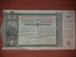 Ungheria Testatina Titolo Pro Croce Rossa Red Cross Croix Rouge Obbligazione Per 5 Fiorini O Gulden Hungary - Azioni & Titoli