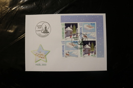 Luxembourg Christmas Paintings Corner Block Of Four Day Of Issue Cancel 2003 04s - FDC