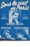 JULIETTE GRECO EDITH PIAF JACQUES HELIAN - 1951 - SOUS LE CIEL DE PARIS - EXCELLENT ETAT PROCHE DU NEUF - DREJAC/GIRAUD- - Autres
