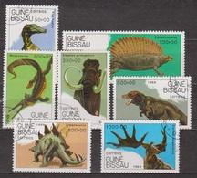 Animaux Préhistoriques - GUINEE BISSAU - Dinosaure - Mammouth, Mesosaure, Stégosaure, Tyrannosaure - N° 542 à 548 - 1989 - Guinée-Bissau