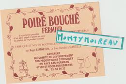 Vieux Papier :  étiquette  Poiré- Cidre  Fermier à Mantilly , Orne , St  Roch Sur  Egrenne - Naissance & Baptême