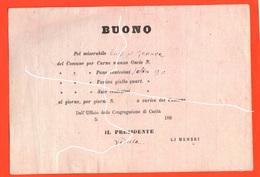 Buoni Caritatevoli BUONO 20 Centesimi Di Pane Pel Miserabile Luigi  Italia Post 1860 - Altri