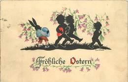 FRÖLICHE OSTERN - Enfant Et Lapin, Ombre Chinoise, Carte Illustrée Par Epa Wahle. - Silhouettes