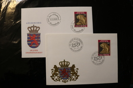 Luxembourg Independence 150 Years Two Cancels Day Of Issue Cancel 1989 04s - FDC