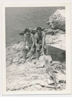REAL PHOTO, Two Naked Trunks  Men On Beach  Hommes Nu Sur La Plage  ORIGINAL - Anonymous Persons