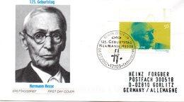 """BRD Schmuck-FDC: """"125.Geburtstag Von Hermann Hesse"""", Mi.2270 ESSt 4.7.2002 BERLIN ZENTRUM - [7] République Fédérale"""