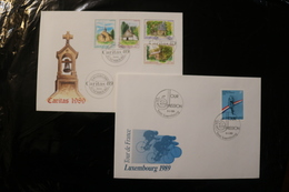 Luxembourg Christmas Churches Tour De France Bicycle Day Of Issue Cancel 1989 04s - FDC