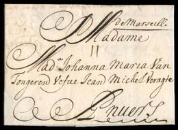 "FRANCE. 1705 (18 May). Marseille - Anvers / Belgium. EL Full Contains Mns ""De Marseille"" + 11 Sols Charge. VF Item. Ex L - France"